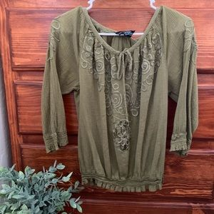 Cynthia Rowley Olive Green Top